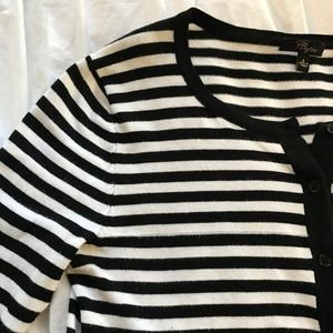Classic Black & White Striped Cardigan